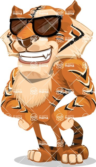 Cute Tiger Cartoon Vector Character AKA Tiger Bone - Sunglasses