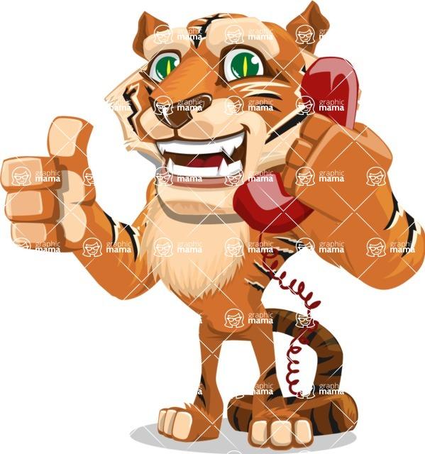 Cute Tiger Cartoon Vector Character AKA Tiger Bone - Talking on Phone
