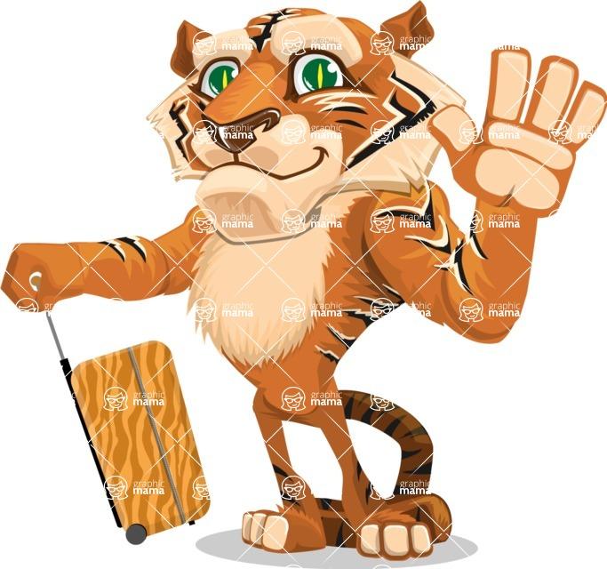 Cute Tiger Cartoon Vector Character AKA Tiger Bone - Travel 1