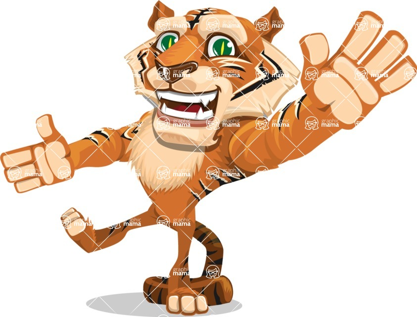 Cute Tiger Cartoon Vector Character AKA Tiger Bone - Wave