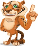 Cute Tiger Cartoon Vector Character AKA Tiger Bone - Attention