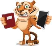 Cute Tiger Cartoon Vector Character AKA Tiger Bone - Book and iPad