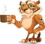 Cute Tiger Cartoon Vector Character AKA Tiger Bone - Coffee