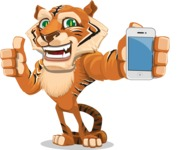 Cute Tiger Cartoon Vector Character AKA Tiger Bone - iPhone