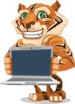 Cute Tiger Cartoon Vector Character AKA Tiger Bone - Laptop 2