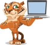 Cute Tiger Cartoon Vector Character AKA Tiger Bone - Laptop 3