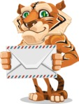 Cute Tiger Cartoon Vector Character AKA Tiger Bone - Letter