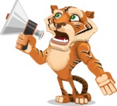 Cute Tiger Cartoon Vector Character AKA Tiger Bone - Loudspeaker