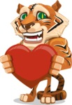 Cute Tiger Cartoon Vector Character AKA Tiger Bone - Love