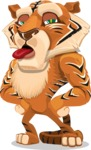 Cute Tiger Cartoon Vector Character AKA Tiger Bone - Making Face