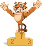 Cute Tiger Cartoon Vector Character AKA Tiger Bone - On Top