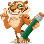 Cute Tiger Cartoon Vector Character AKA Tiger Bone - Pencil