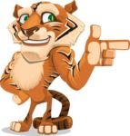 Cute Tiger Cartoon Vector Character AKA Tiger Bone - Point
