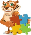 Cute Tiger Cartoon Vector Character AKA Tiger Bone - Puzzle