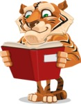 Cute Tiger Cartoon Vector Character AKA Tiger Bone - Reading a Book