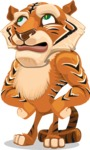 Cute Tiger Cartoon Vector Character AKA Tiger Bone - Roll Eyes