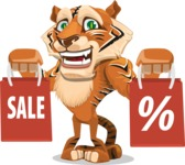 Cute Tiger Cartoon Vector Character AKA Tiger Bone - Sale 2