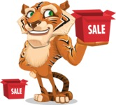 Cute Tiger Cartoon Vector Character AKA Tiger Bone - Sale