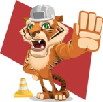 Cute Tiger Cartoon Vector Character AKA Tiger Bone - Shape 12