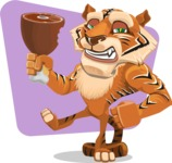 Cute Tiger Cartoon Vector Character AKA Tiger Bone - Shape 6