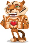 Cute Tiger Cartoon Vector Character AKA Tiger Bone - Show Love