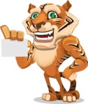 Cute Tiger Cartoon Vector Character AKA Tiger Bone - Sign 1