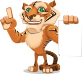Cute Tiger Cartoon Vector Character AKA Tiger Bone - Sign 2