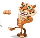 Cute Tiger Cartoon Vector Character AKA Tiger Bone - Sign 4