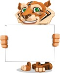 Cute Tiger Cartoon Vector Character AKA Tiger Bone - Sign 5
