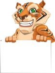 Cute Tiger Cartoon Vector Character AKA Tiger Bone - Sign 6