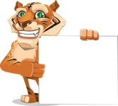 Cute Tiger Cartoon Vector Character AKA Tiger Bone - Sign 8