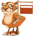 Cute Tiger Cartoon Vector Character AKA Tiger Bone - Sign 9