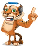 Cute Tiger Cartoon Vector Character AKA Tiger Bone - Support 2