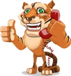 Cute Tiger Cartoon Vector Character AKA Tiger Bone - Talking on Phone