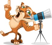 Cute Tiger Cartoon Vector Character AKA Tiger Bone - Telescope