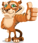 Cute Tiger Cartoon Vector Character AKA Tiger Bone - Thumbs Up