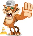 Cute Tiger Cartoon Vector Character AKA Tiger Bone - Under Construction 1