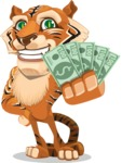 Cute Tiger Cartoon Vector Character AKA Tiger Bone - With A Lot of Money