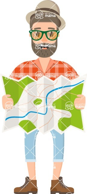 Travel Cartoon Vector Graphic Maker - Traveler guy with map, hat and glasses