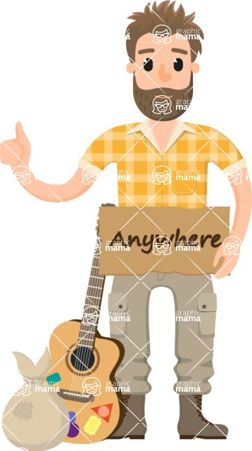 Travel Cartoon Vector Graphic Maker - Hitchhiking adventurer with guitar