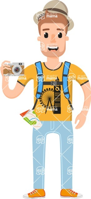 Travel Cartoon Vector Graphic Maker - Young British tourist