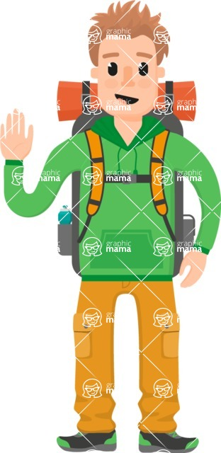 Travel Cartoon Vector Graphic Maker - Traveler with travel backpack