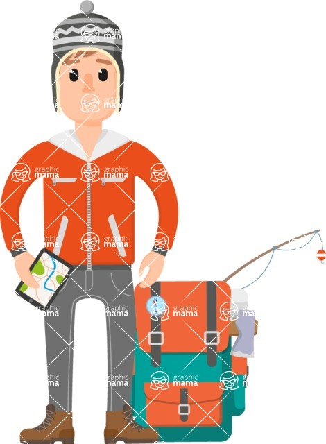 Travel Cartoon Vector Graphic Maker - Traveler going fishing