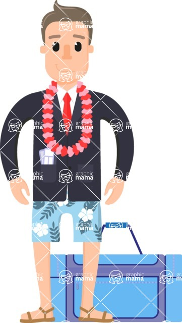 Travel Cartoon Vector Graphic Maker - Businessman on vacation