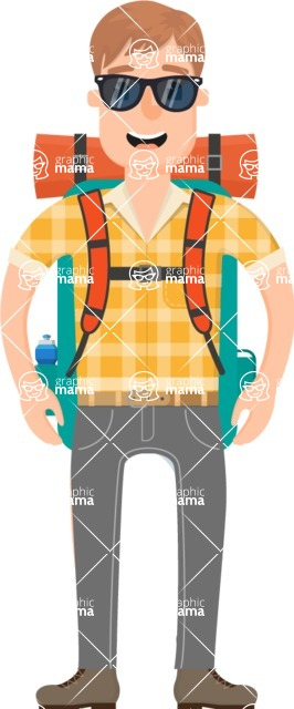 Travel Cartoon Vector Graphic Maker - Excited adventurer with backpack