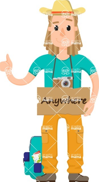 Travel Cartoon Vector Graphic Maker - Blonde hitchhiker vector character
