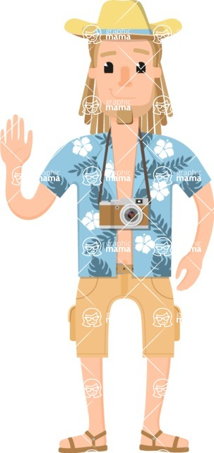 Travel Cartoon Vector Graphic Maker - Hippie traveler in summer clothes