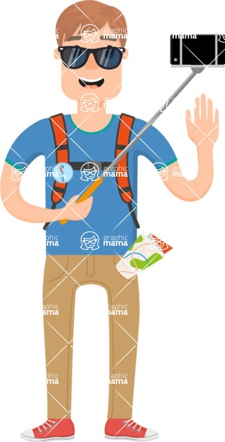 Travel Cartoon Vector Graphic Maker - Cool tourist with sunglasses and selfie stick
