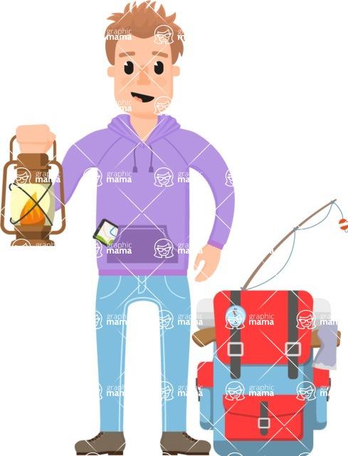 Travel Cartoon Vector Graphic Maker - Male adventurer with lantern