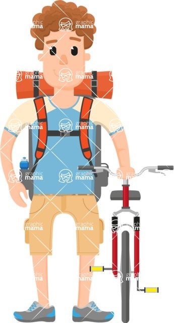 Travel Cartoon Vector Graphic Maker - Curly traveler with bike